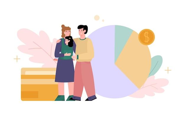 Paar mit kind, das die planung der familienbudgetersparnisse tut, die das finanzeinkommen zählen