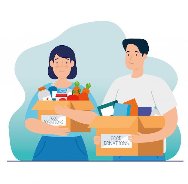 Paar mit kisten der wohltätigkeitsspendenillustration