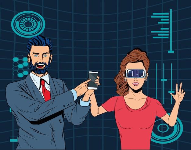 Paar mit kopfhörer der virtuellen realität