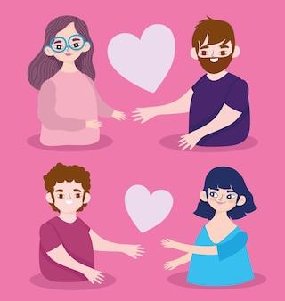 Paar mit liebesherzen romantische zeichentrickfiguren