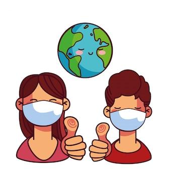 Paar mit masken kümmern sich um das wort