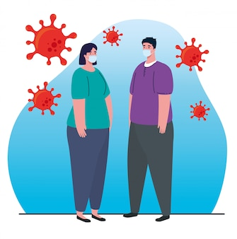 Paar mit medizinischer maske, gegen coronavirus, prävention