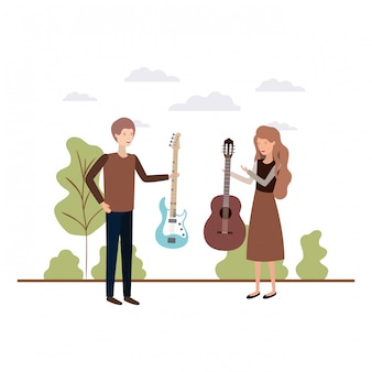 Paar mit musikinstrumenten in landschaft