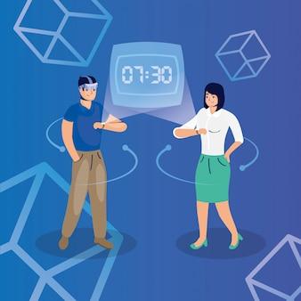 Paar mit reality virtual tech in smartwatch