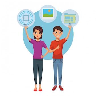 Paar mit smartphone für soziale netzwerke