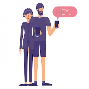 Paar mit smartphone mit sprechblase