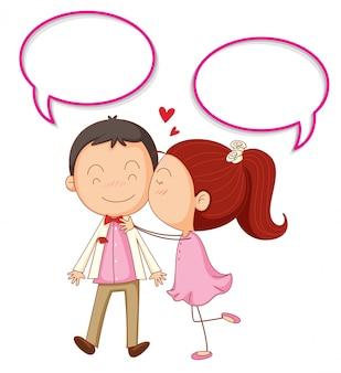 Paar mit sprechblasen