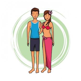 Paar mit strandartikel