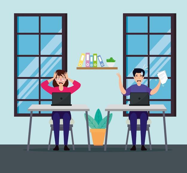 Paar mit stressattacken am arbeitsplatz