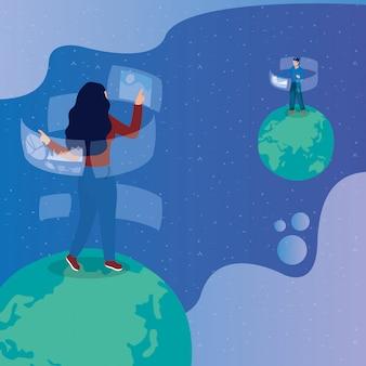 Paar mit virtueller reality-technologie in interaktiver anzeige