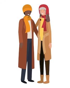 Paar mit winterkleidung avatar charakter