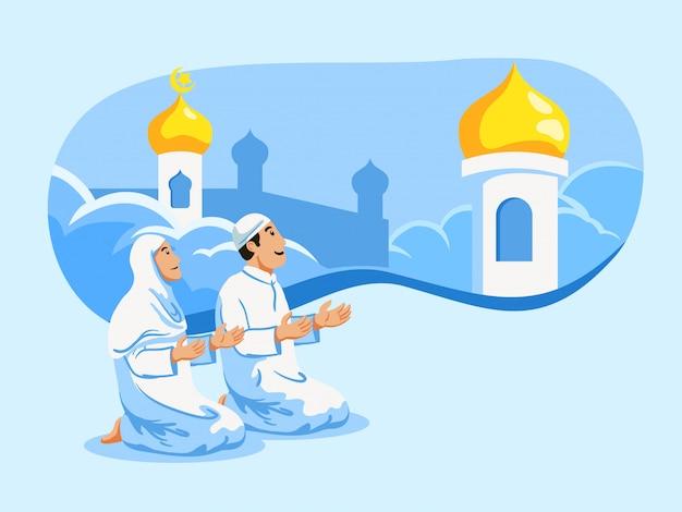 Paar moslems beten und moscheenhaubenhintergrund.