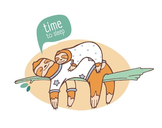 Paar mutter- und babyfaultiere, die auf zweig schlafen