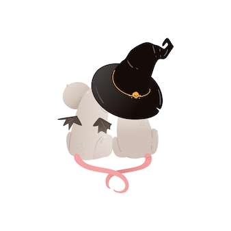 Paar niedliche mäuse, die zusammen unter hexenhut sitzen