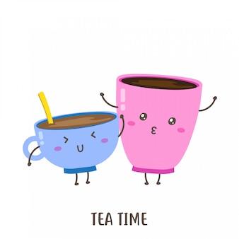 Paar niedlichen glücklichen tee in einem tassenvektorentwurf