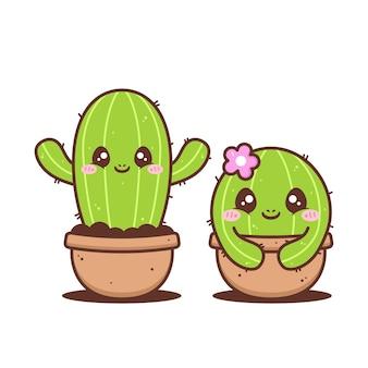 Paar niedlichen kleinen grünen kaktus lokalisiert auf weiß Premium Vektoren