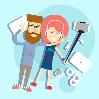 Paar nimmt ein selfie