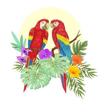 Paar papageien auf ast und blumen mit vollmond.