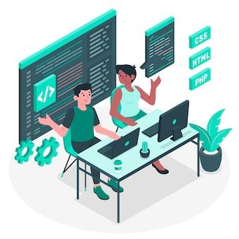 Paar programmierkonzept illustration