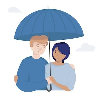Paar regenschirm