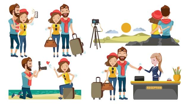 Paar reisen das flitterwochen-konzept mit süße. reisen zu verschiedenen orten.