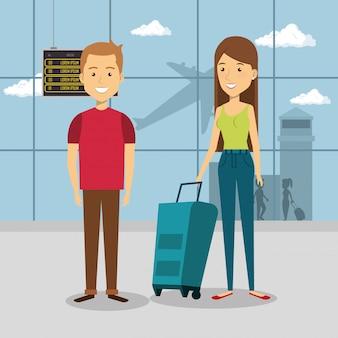 Paar reisende in den flughafencharakteren