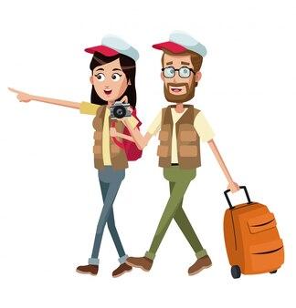 Paar reisender mit weste fall