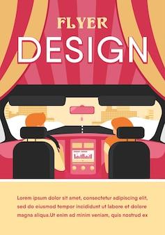 Paar reitendes fahrzeug. rückansicht von fahrer und beifahrer im fahrzeuginnenraum. blick vom rücksitz. illustration für fahren, transport, automobil, verkehrskonzept
