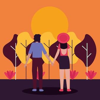 Paar romantische aktivitäten im freien flach