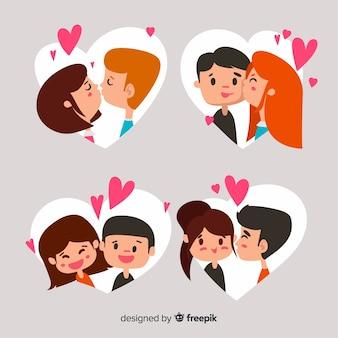 Paar-sammlung des valentinstags küssend