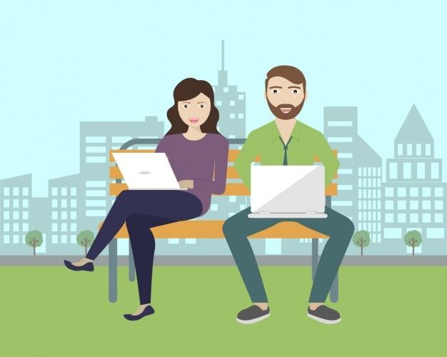 Paar saß in einer bank