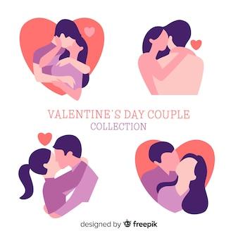 Paar-schattenbildsatz des valentinstags
