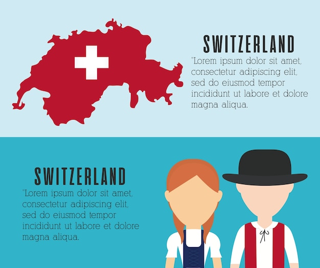Paar schweizer und schweizer land kartensymbol