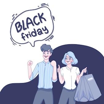 Paar sind mit black friday verkauf zufrieden.