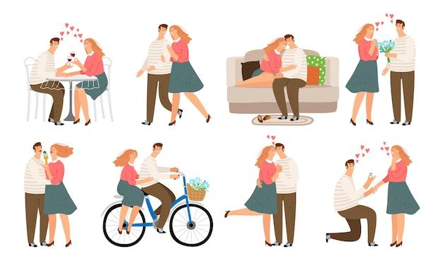 Paar situationen. junge leute, frau und mann in der liebe küssen gehen streit und couch sofa