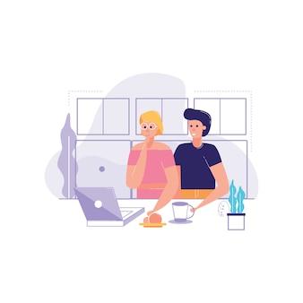 Paar-sitzendes café, das laptopvektorillustration nett schauend lacht