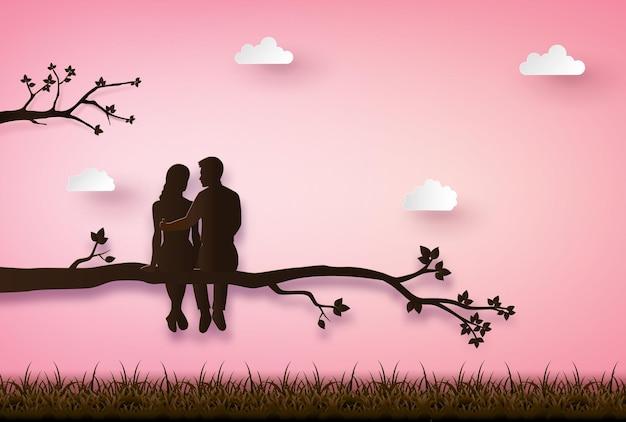Paar sitzt auf einem ast. scherenschnitt-illustration von liebe und valentinstag.