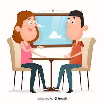 Paar sitzt im café