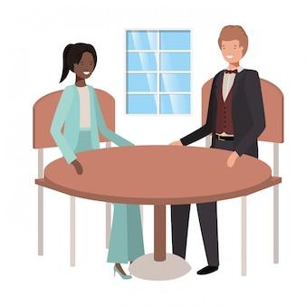 Paar sitzt im wohnzimmer avatar charakter