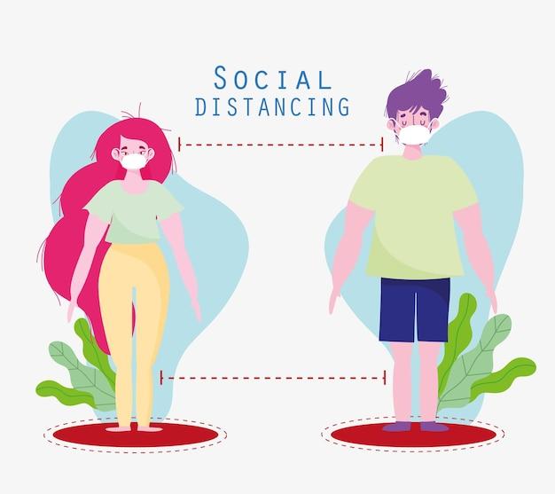 Paar soziale distanzierung