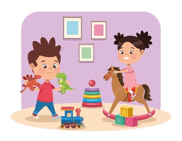 Paar spielende kinder