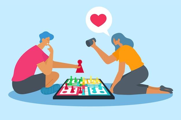 Paar spielt ludo-spiel