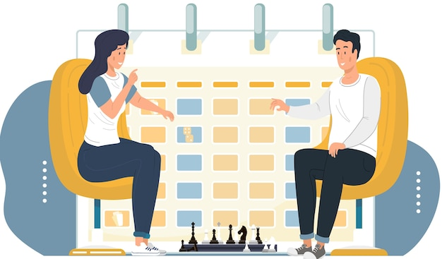Paar spielt schach. junge leute, die am tisch mit schachbrett sitzen. schachturnier zwischen zwei personen. strategiespiel. zeitplan oder ein zeitplan im hintergrund. mann und frau verbringen zeit miteinander