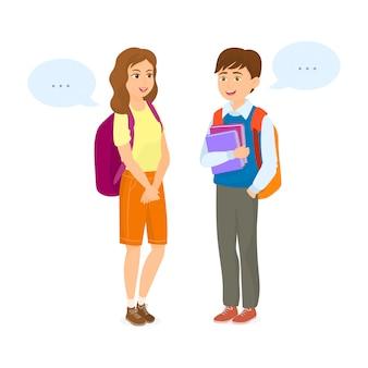 Paar studenten im gespräch mit dialogfeldern