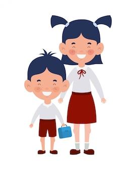 Paar studenten stehen lächelnd