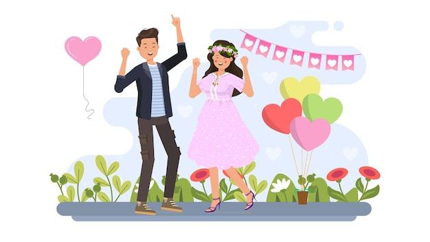 Paar tanzen auf valentine illustration