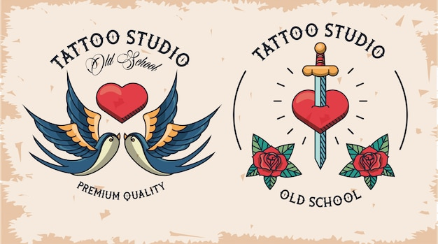 Paar tattoo studio logos