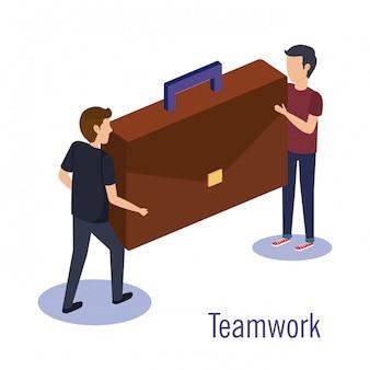 Paar teamarbeit mit portfolio