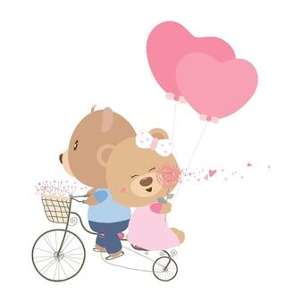 Paar teddybär auf fahrrad mit herzballon