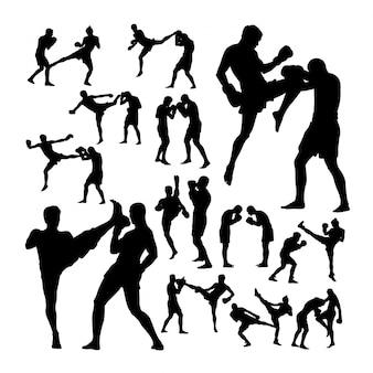 Paar thailändische boxkampfkunstkunstschattenbilder Premium Vektoren